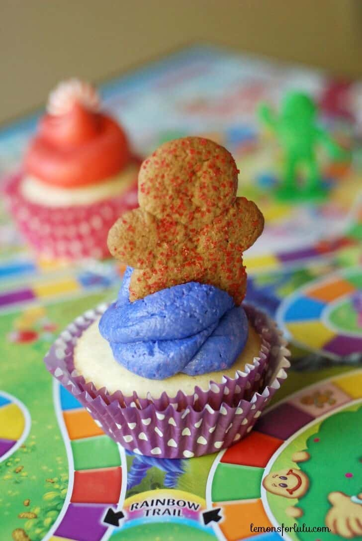 Gingerbread men on these delicious Candy Land Cupcakes.