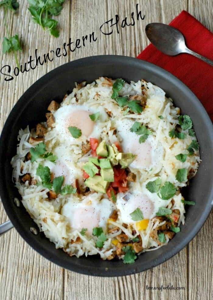 Spicy sausage, potatoes, veggies and eggs! www.lemonsforlulu.com