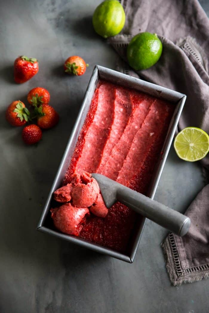 strawberry sorbet recipe scooped