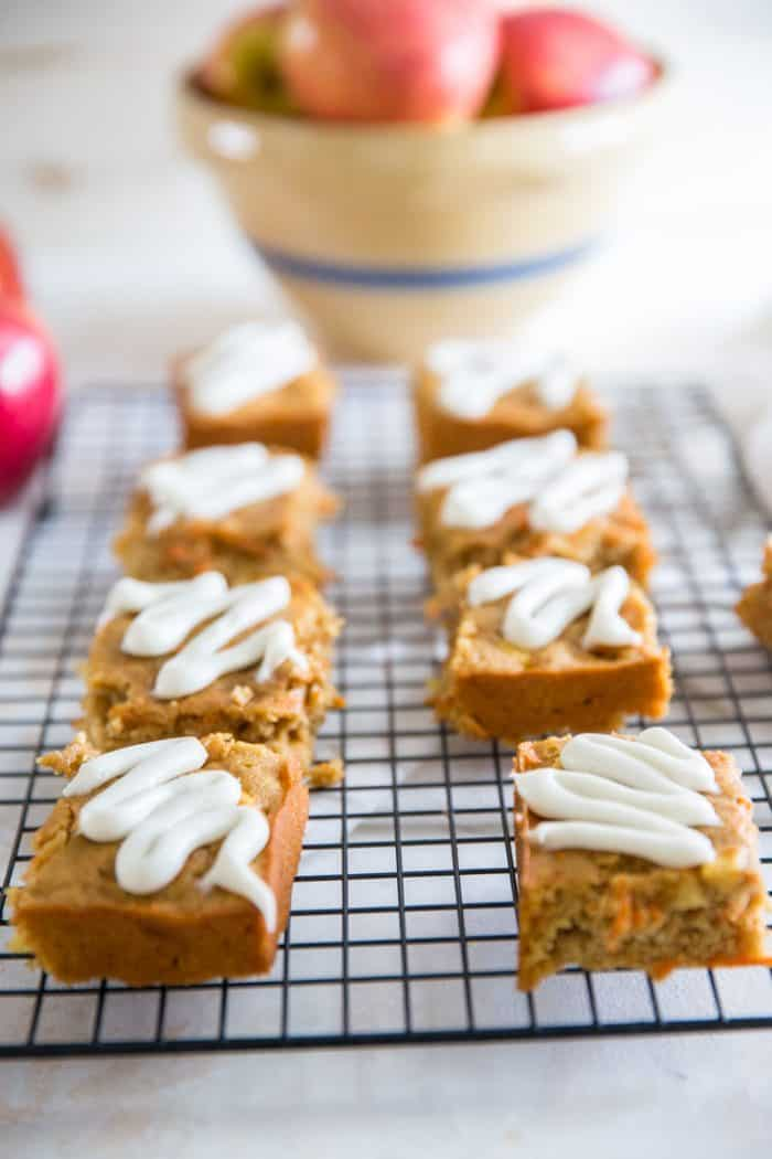 Apple carrot cake bars 8 squares