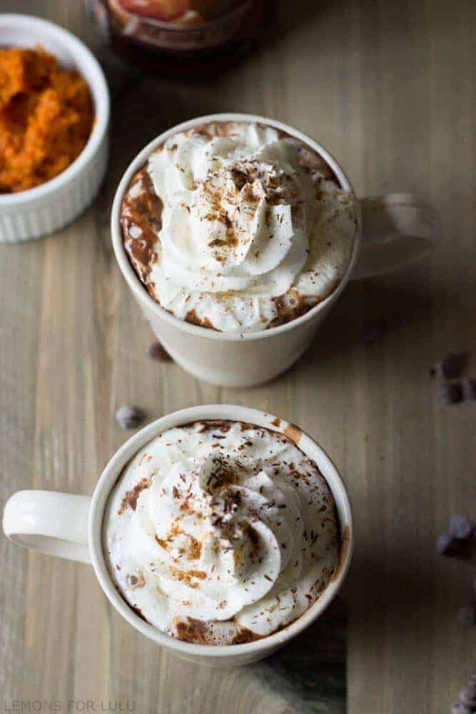 This simple hot chocolate recipe incorporates pumpkin puree, pumpkin spice and chocolate for a rich and cozy treat! www.lemonsforlulu.com #IDelight #sponsored