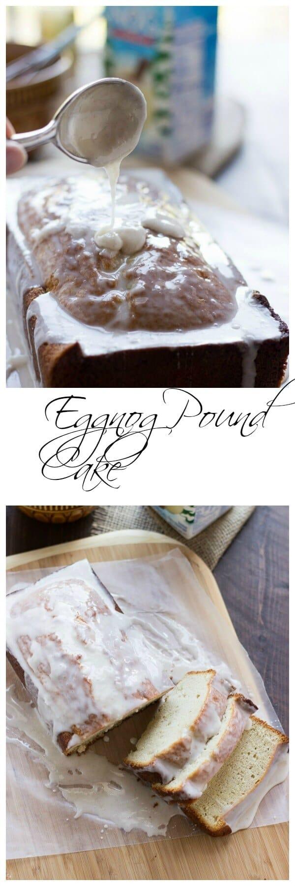 Eggnog pound cake with icing