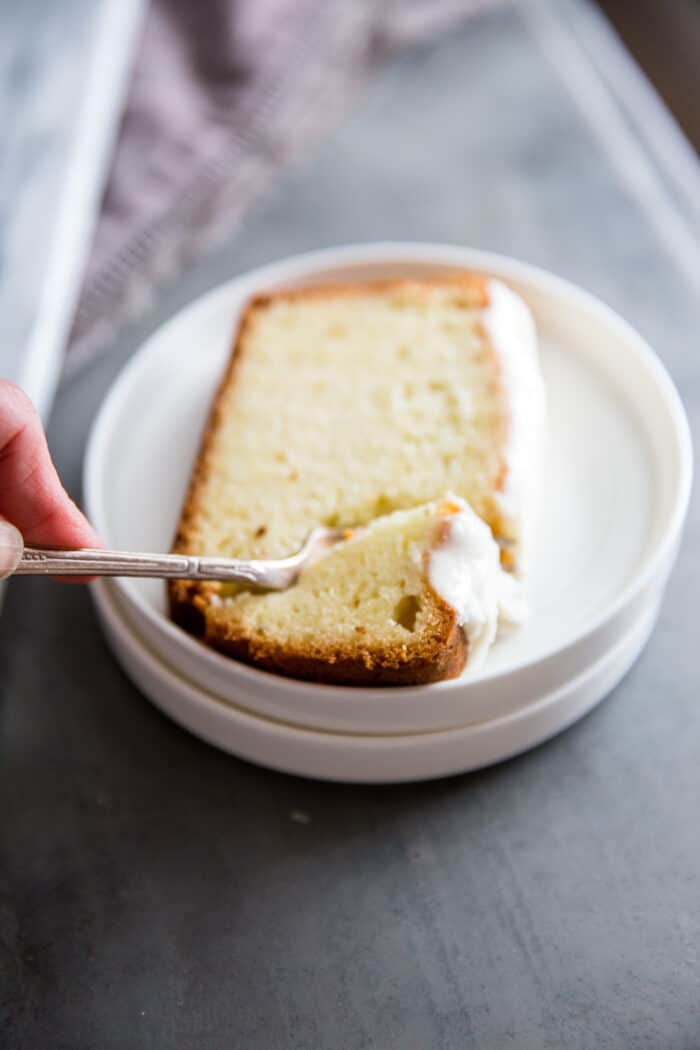 cream cheese pound cake with fork