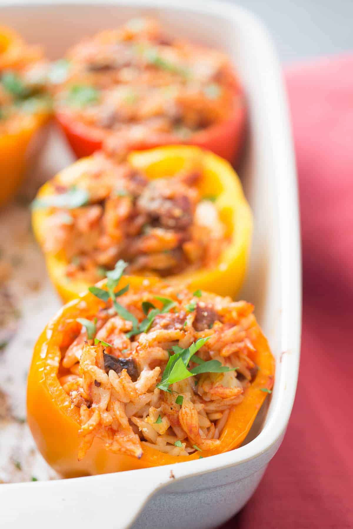 Italian stuffed pepper are going to wow your family! They are filled with sausage and pasta; everything kids love!