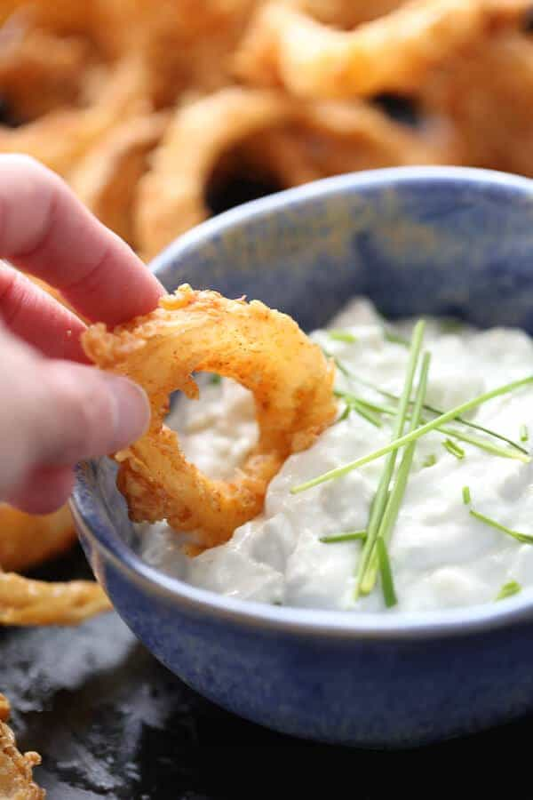 These bold bbq flavored crispy onion rings are irresistible! The blue cheese dipping sauce takes them over the edge into something extraordinary! lemonsforlulu.com