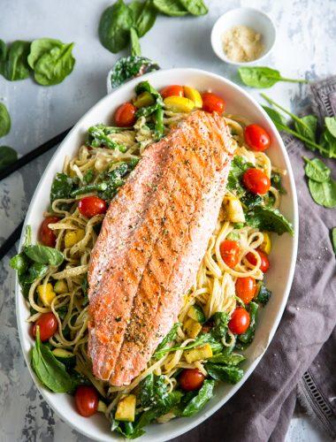 Pasta Primavera with salmon
