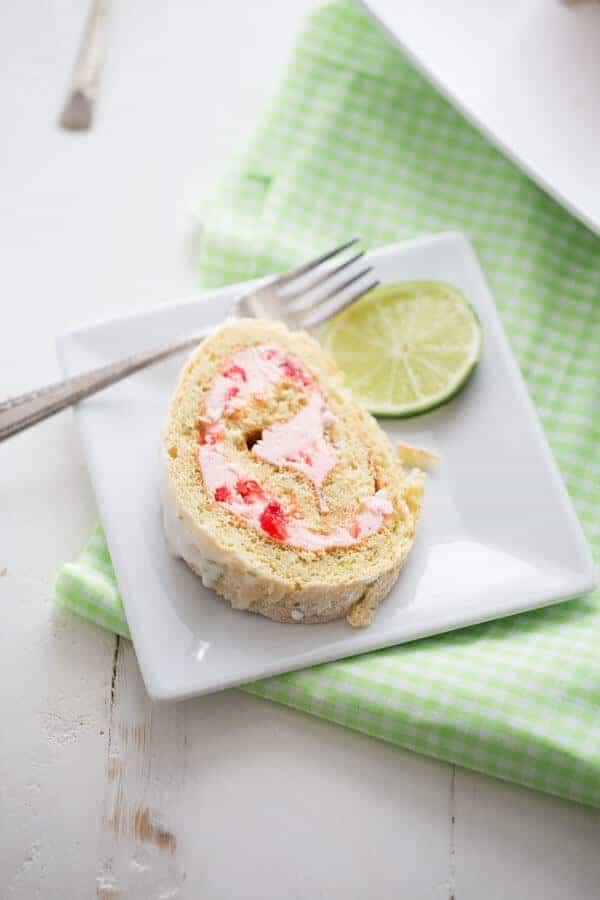 Maraschino cherries make the sweet filling to this easy cake roll recipe! lemonsforlulu.com