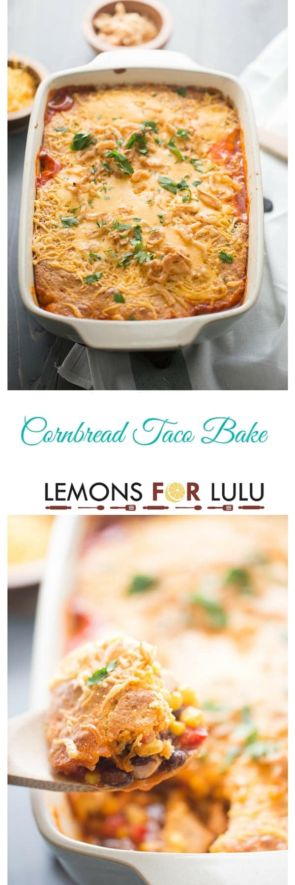 A simple cornbread taco bake that is a quick meal for any night of the week! This family friendly recipe starts uses pantry staples and rotisserie chicken which makes this meal come together in a flash! lemosforlulu.com