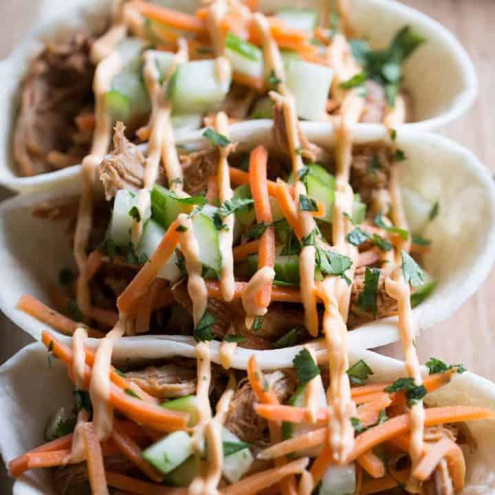 Asian BBQ Pork Taco Boats