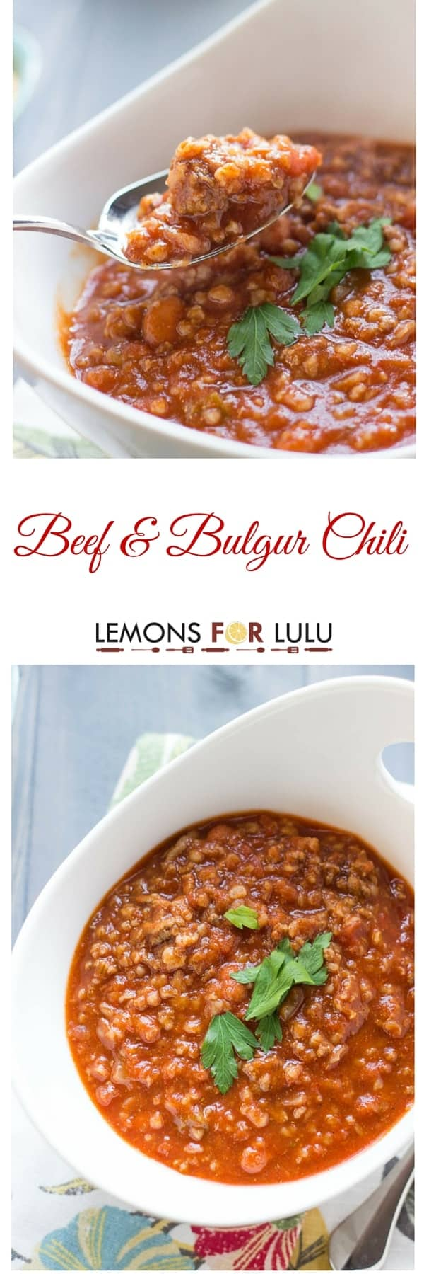 Nothing warms you up quite like a big bowl of chili! This easy homemade chili features lots of beef, hearty bulgur and a whole lot of flavor! lemonsforlulu.com