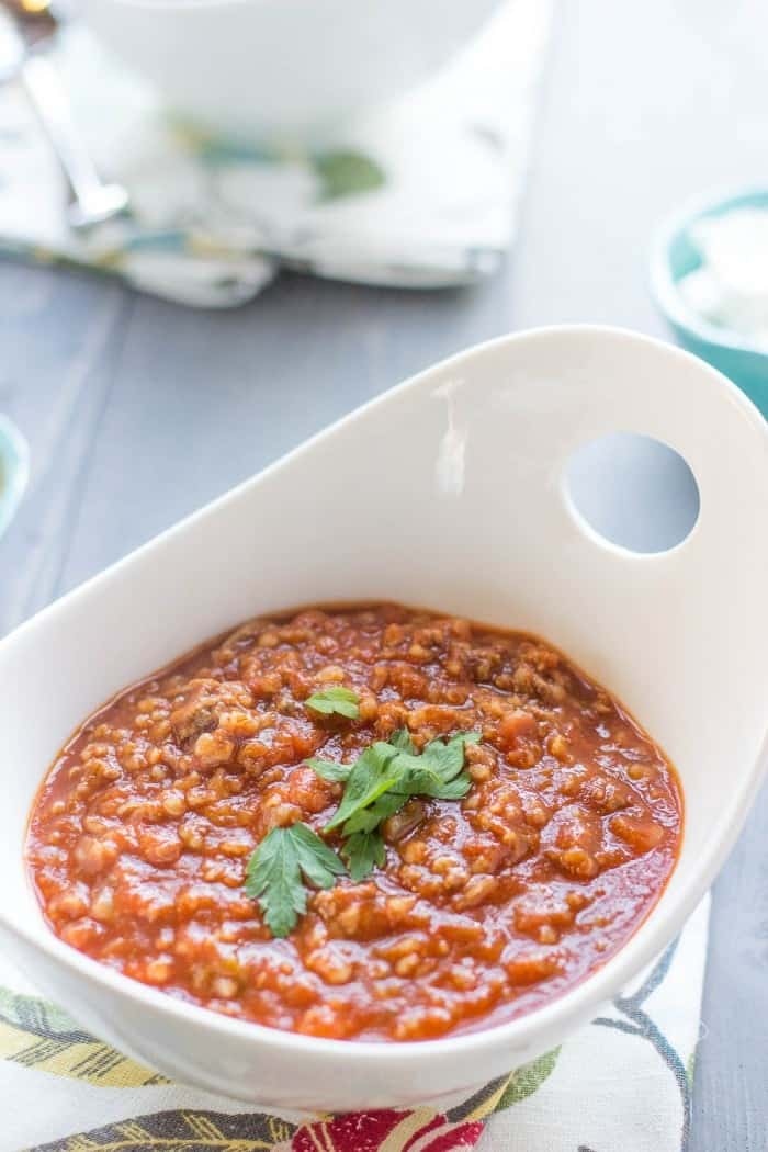 A bowl of bulgur chili