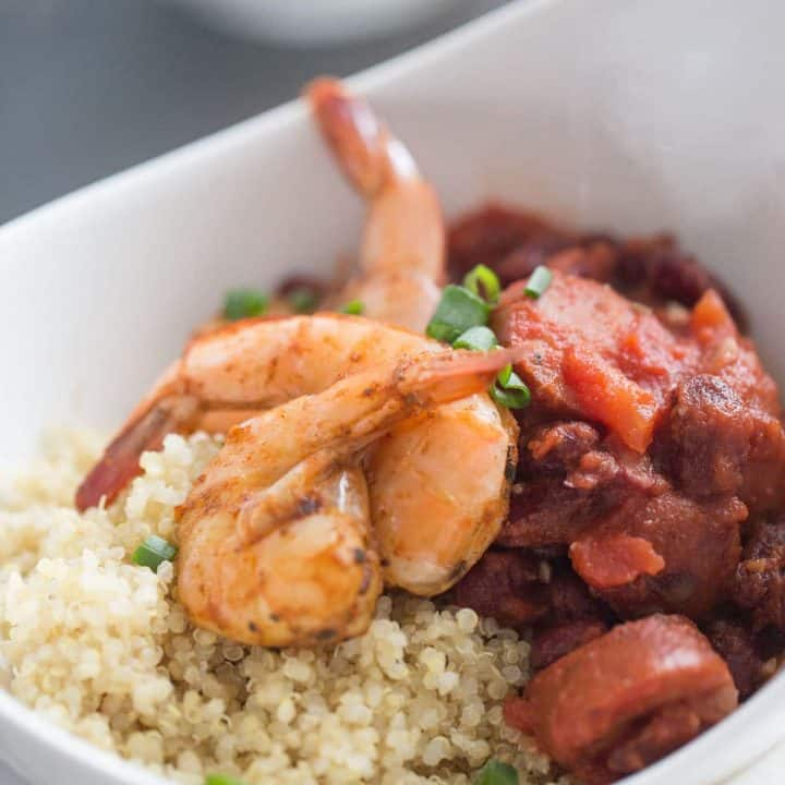 Cajun shrimp recipe over a simple mix of beans, sausage and quinoa! lemonsforlulu.com