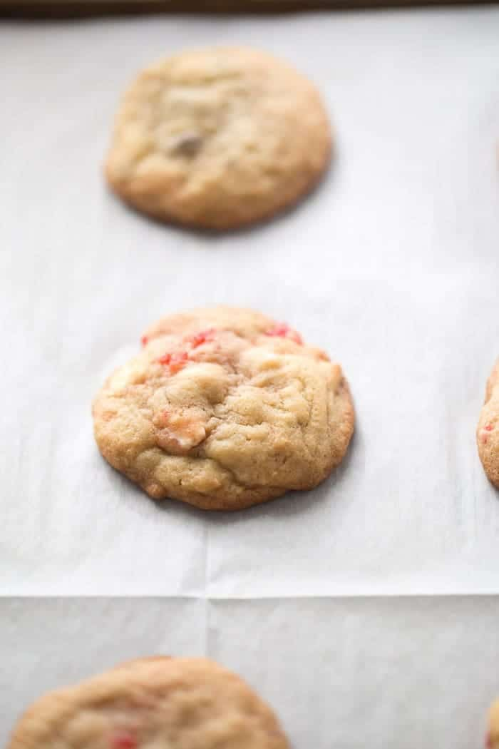 This cookie recipe is extra good with two kinds of chocolate chips in each bite! These double chocolate chip cookies also feature sweet maraschino cherries for fun and for flavor! lemonsforlulu.com
