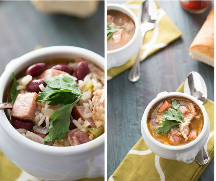Loaded red beans and rice recipe turned soup, with lots of beans, bacon and sausage! lemonsforlulu.com