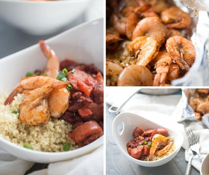 Here's a new spin on red bean and rice! Quinoa is topped with red beans, sausage and oven baked Cajun shrimp! lemonsforlulu.com