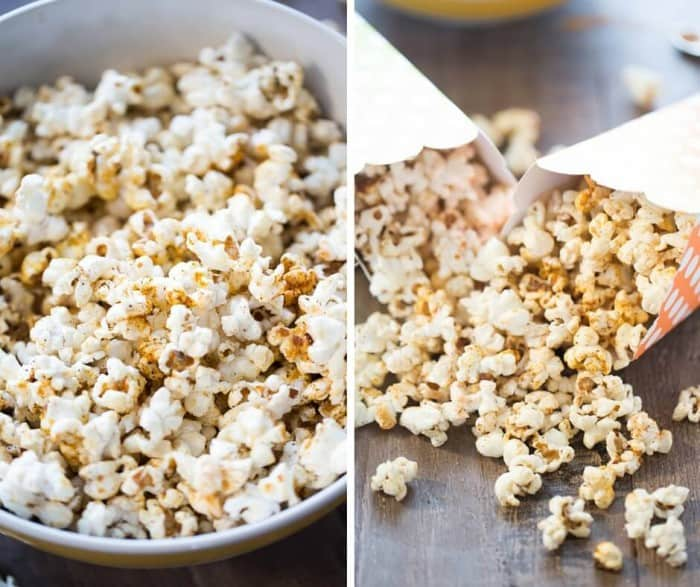 photo collage - Sweet kettle corn recipe with brown sugar and BBQ seasoning in a large white bowl and small popcorn containers on a wooden table.
