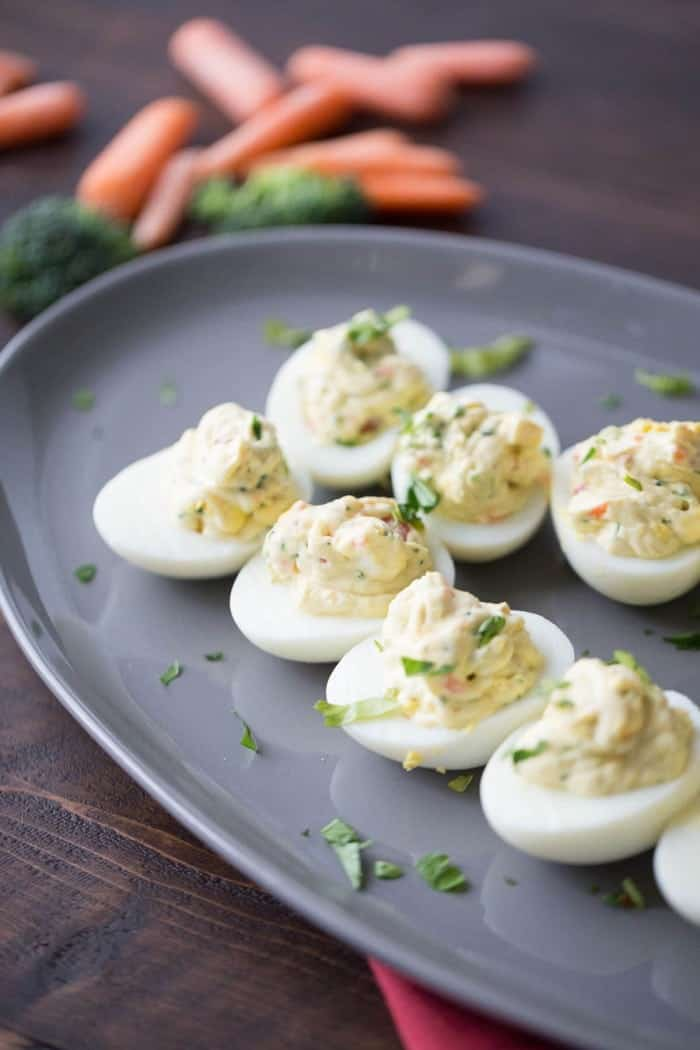 A simple deviled egg with lots of garden veggie and ranch flavor!
