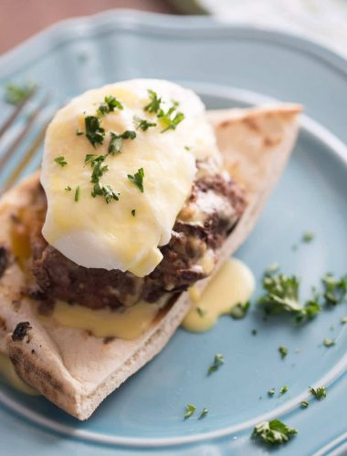 Greek style egg benedict recipe makes the perfect way to start the day!