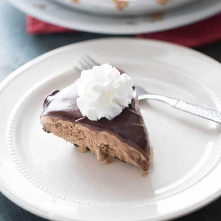 Perfect flavored mocha coffee ice cream pie with rich chocolate ganache!