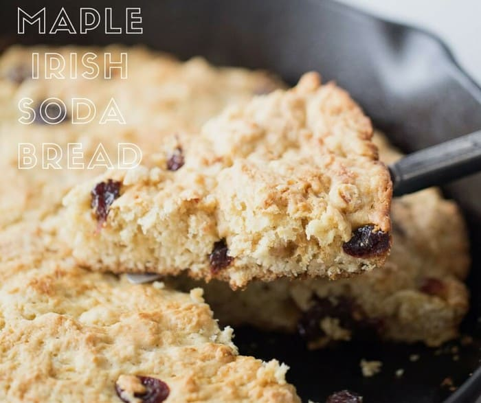 This sweet Irish soda bread is made with pure maple syrup and cherries. This recipe comes together easily and is baked up right in a cast iron skillet for a real rustic flair!