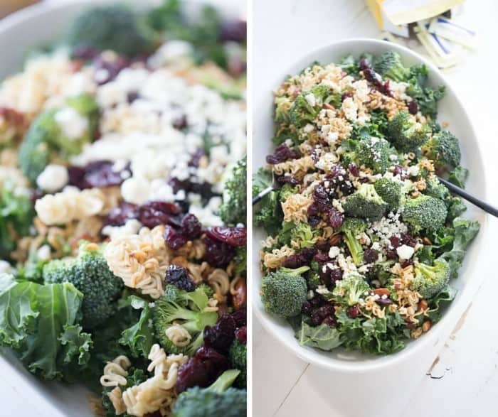 Broccoli ramen noodle salad recipe with krispy kale, sweet cherries, almonds and blue cheese!