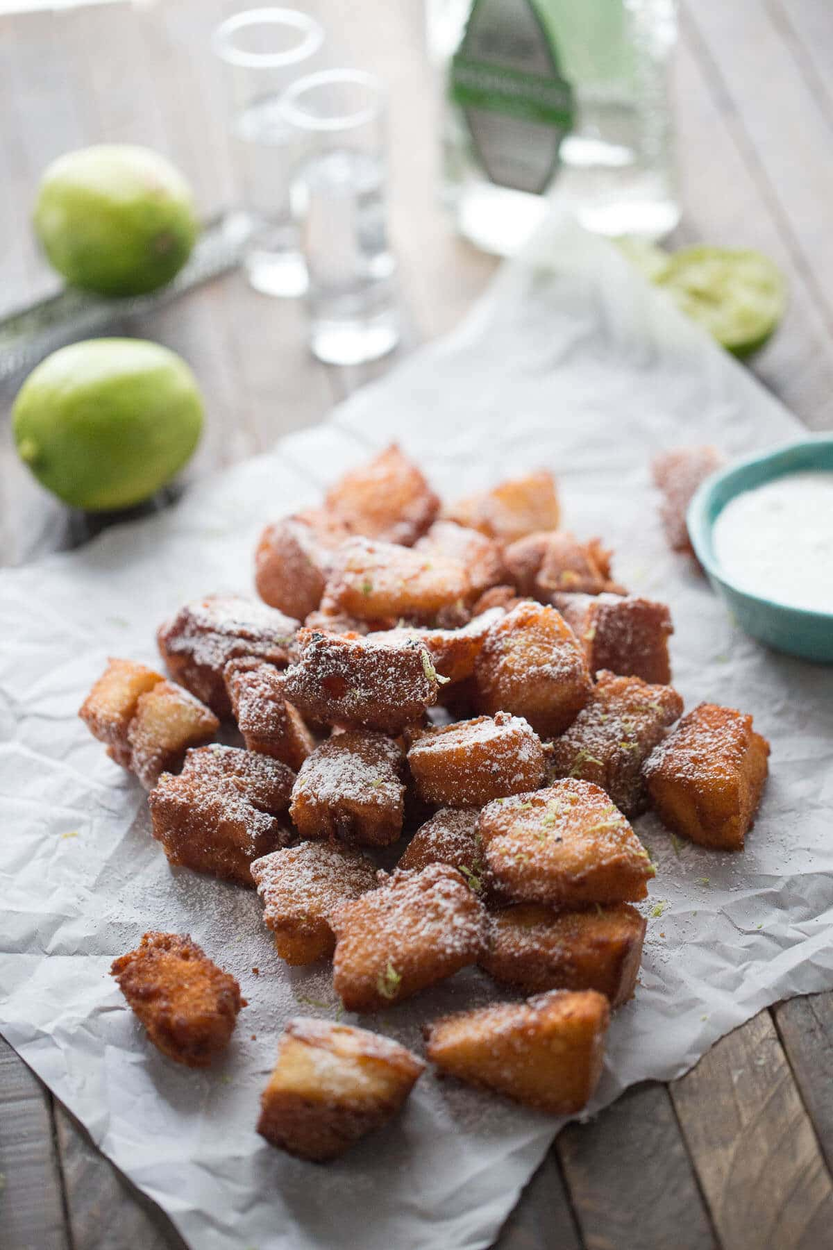 Angel food cake and tequila come together in these easy fried tequila shots!