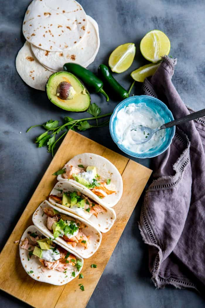 Salmon tacos with avocados