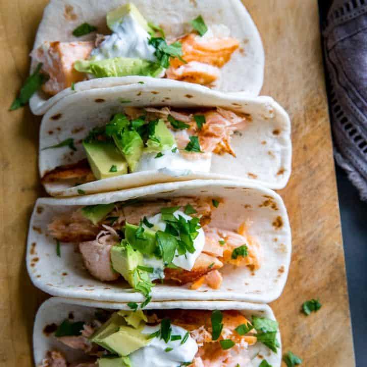 4 salmon tacos