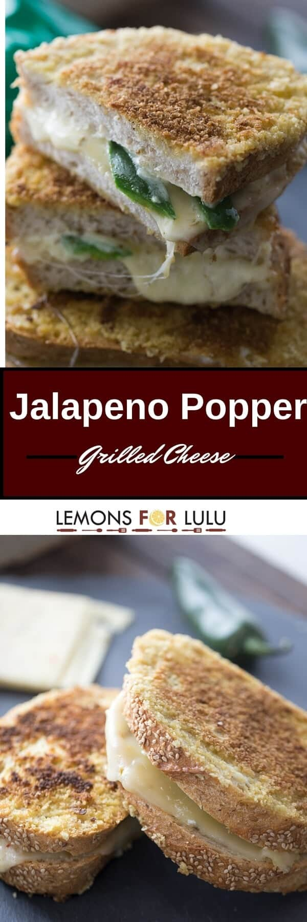 Jalapeno popper grilled cheese tastes even better than the appetizer! Potato chip crusted bread is filled with two kinds of cheese and fresh jalapeños!