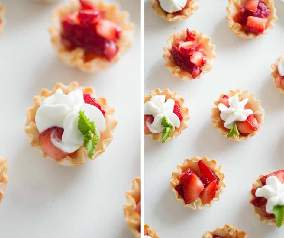 Strawberries Romanoff is such a great way to use fresh strawberries. Fillo cups make the best cups for this simple, fruity recipe.