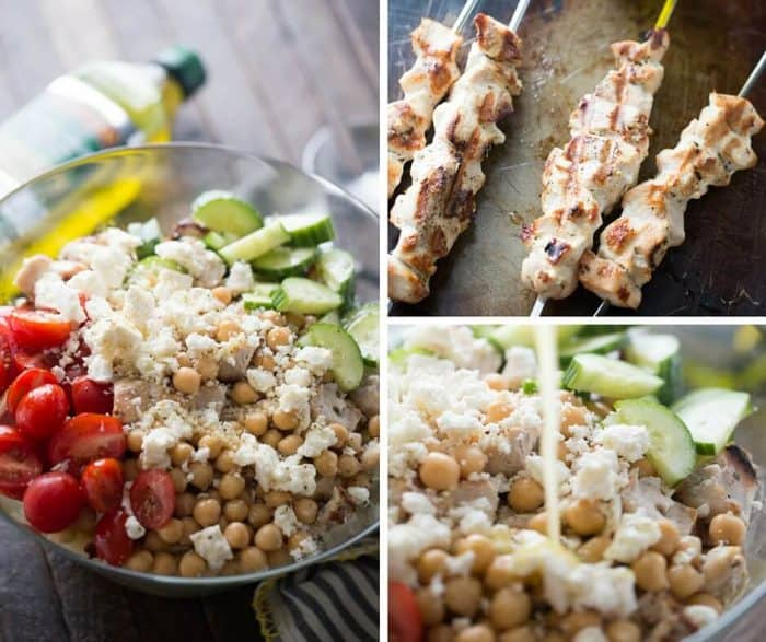 Chicken Souvlaki is a Greek staple! This easy grilled chicken is added to pasta, crisp and fresh vegetables and then topped with a homemade dressing.