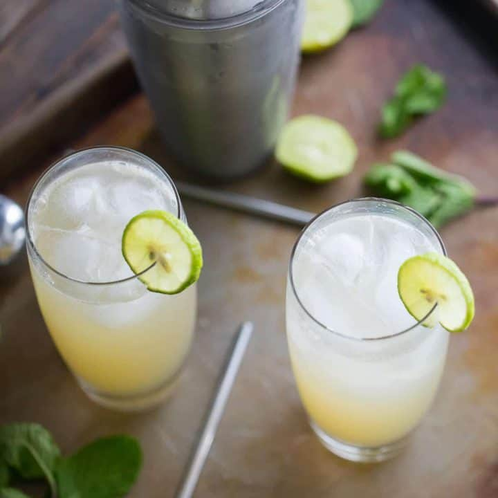 A vodka Collins with a splash of summer! This key lime infused cocktail is refreshing, and simple; perfect for hot summer nights!