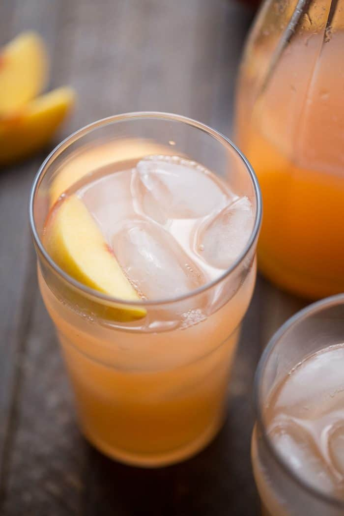 Peach lemonade is made with fresh ginger and crisp lemons. This is one drink that is deliciously thirst-quenching!