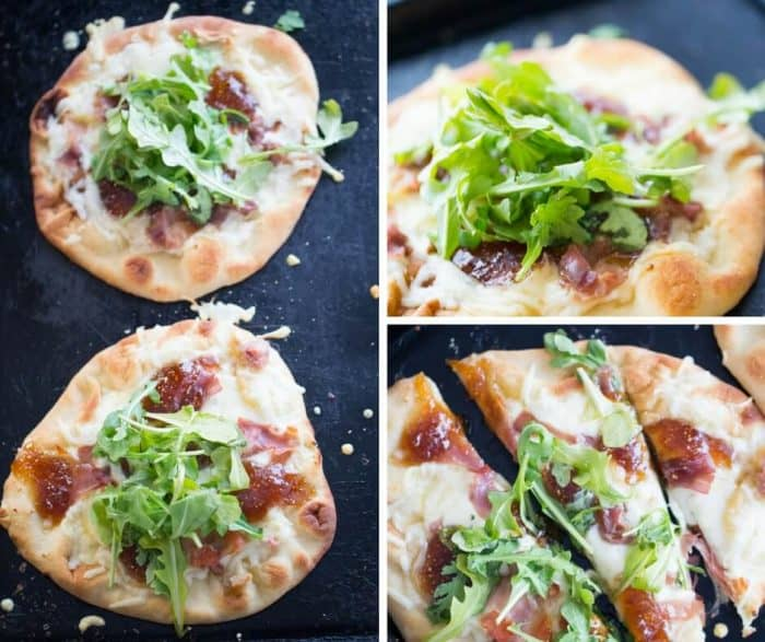 Naan bread is topped with creamy fontina cheese, salty prosciutto and sweet fig jam for this Naan Pizza recipe.   lemonsforlulu.com