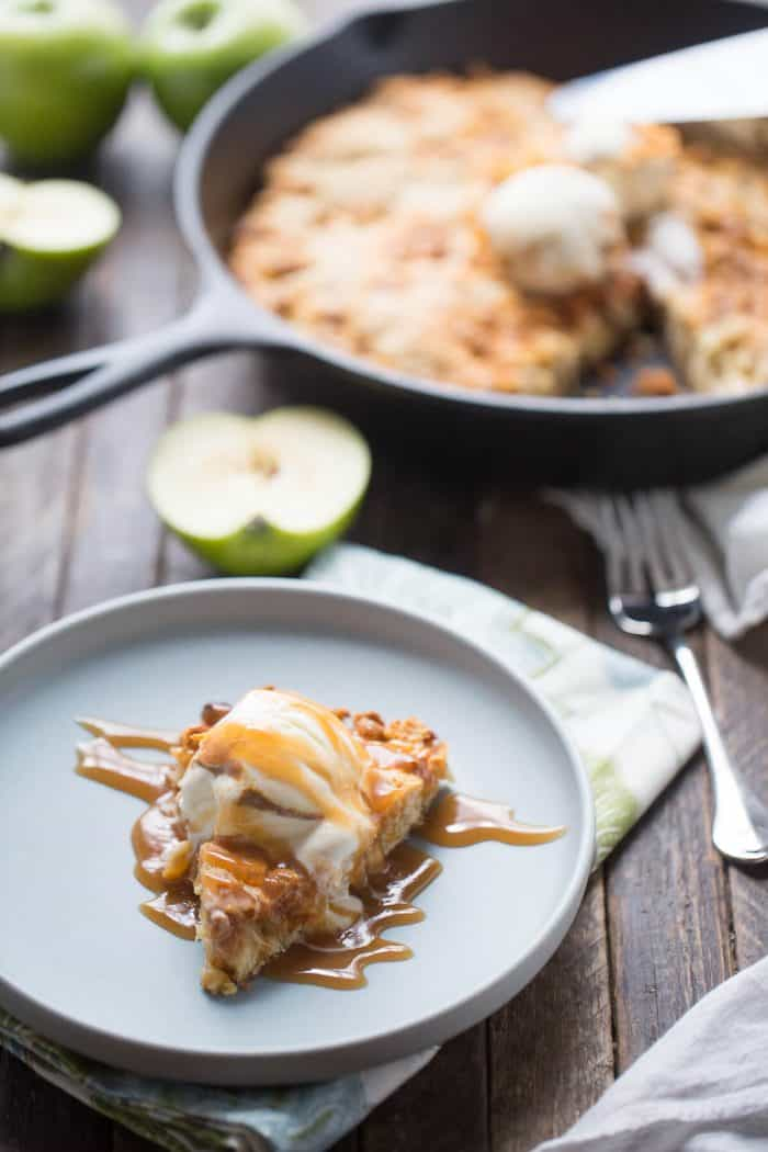 This skillet cookie recipe has big chunks of tart, fresh apples and lots of sweet butterscotch chips. This cookie has a tender, cake-like feel but with the crispy edges of a really good cookie