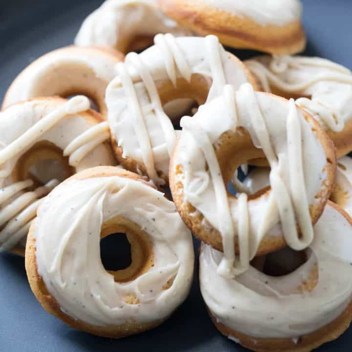 Soft baked sweet potato donuts with a creamy browned butter frosting!