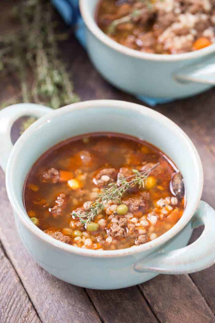 Beef and barley soup made in the crockpot simplifies your meal time! It's easy and so good for you!