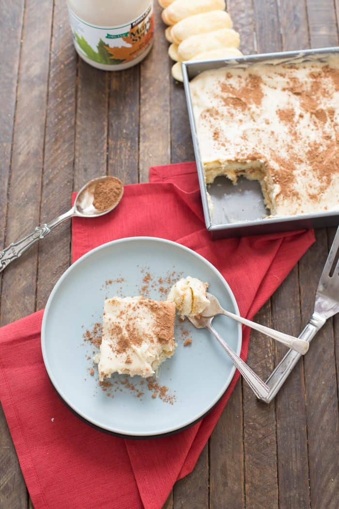 Tiramisu is loved by many! This tiramisu recipe is filled with spiced rum and maple syrup!