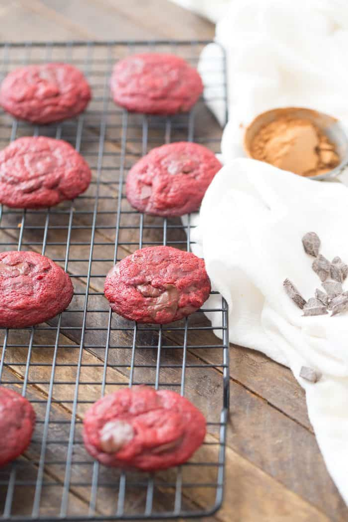 Soft chocolate brownie cookies with a red velvet hint!