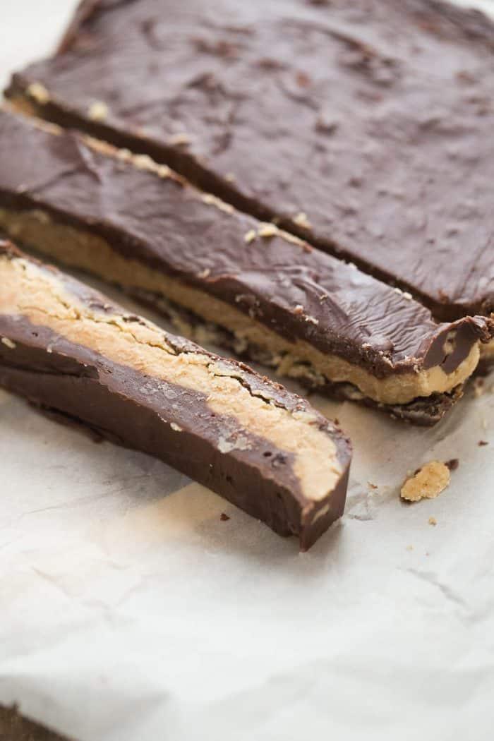 Chocolate fudge and peanut butter fudge layered together to taste like a buckeye ball!