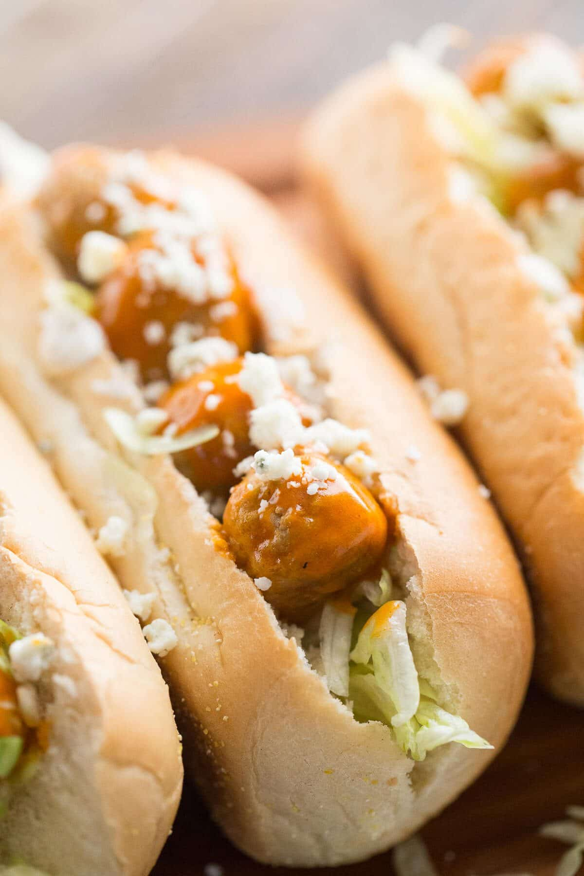 Meatball subs that feature tender meatballs that have been slow cooked in a tangy Buffalo Ranch sauce!