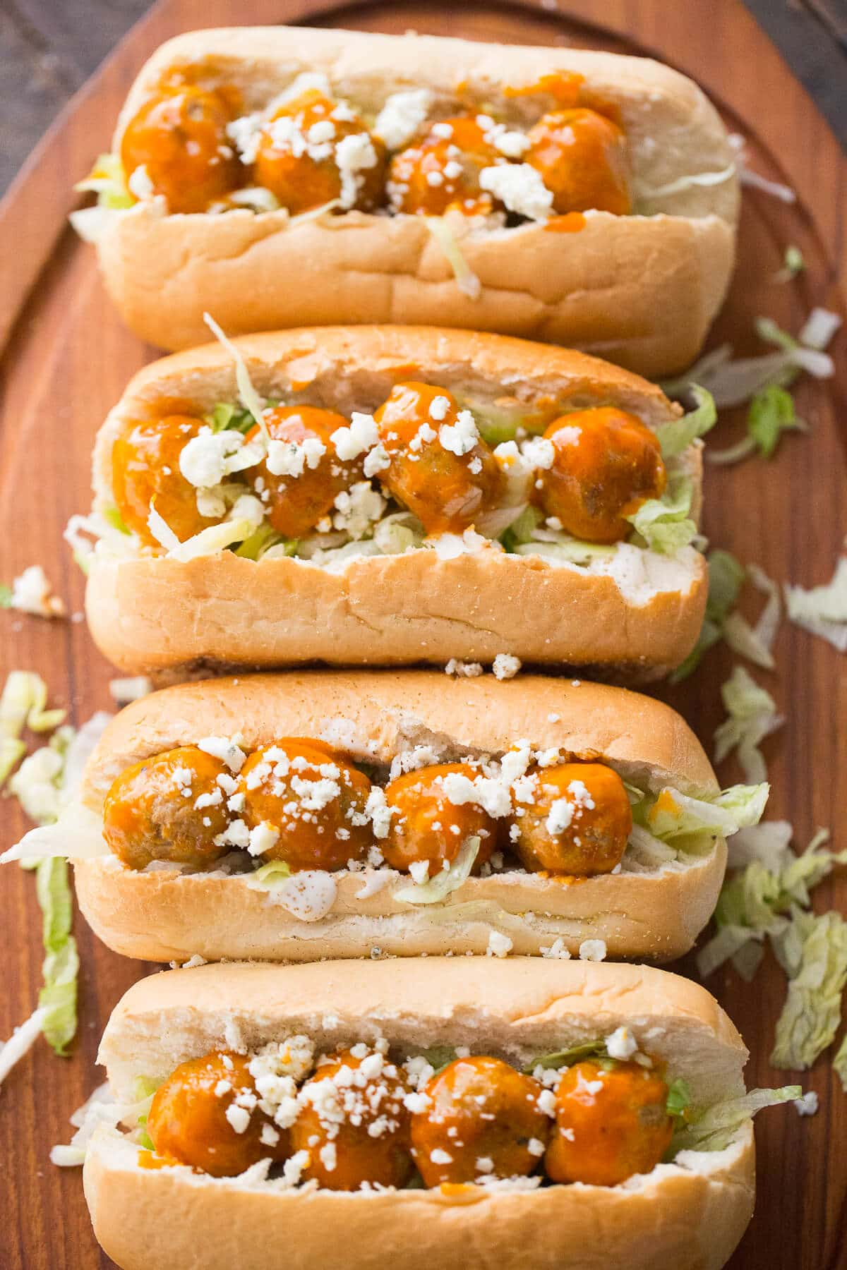 Buffalo Ranch flavored meatballs steal the show in this easy meatball sub recipe!