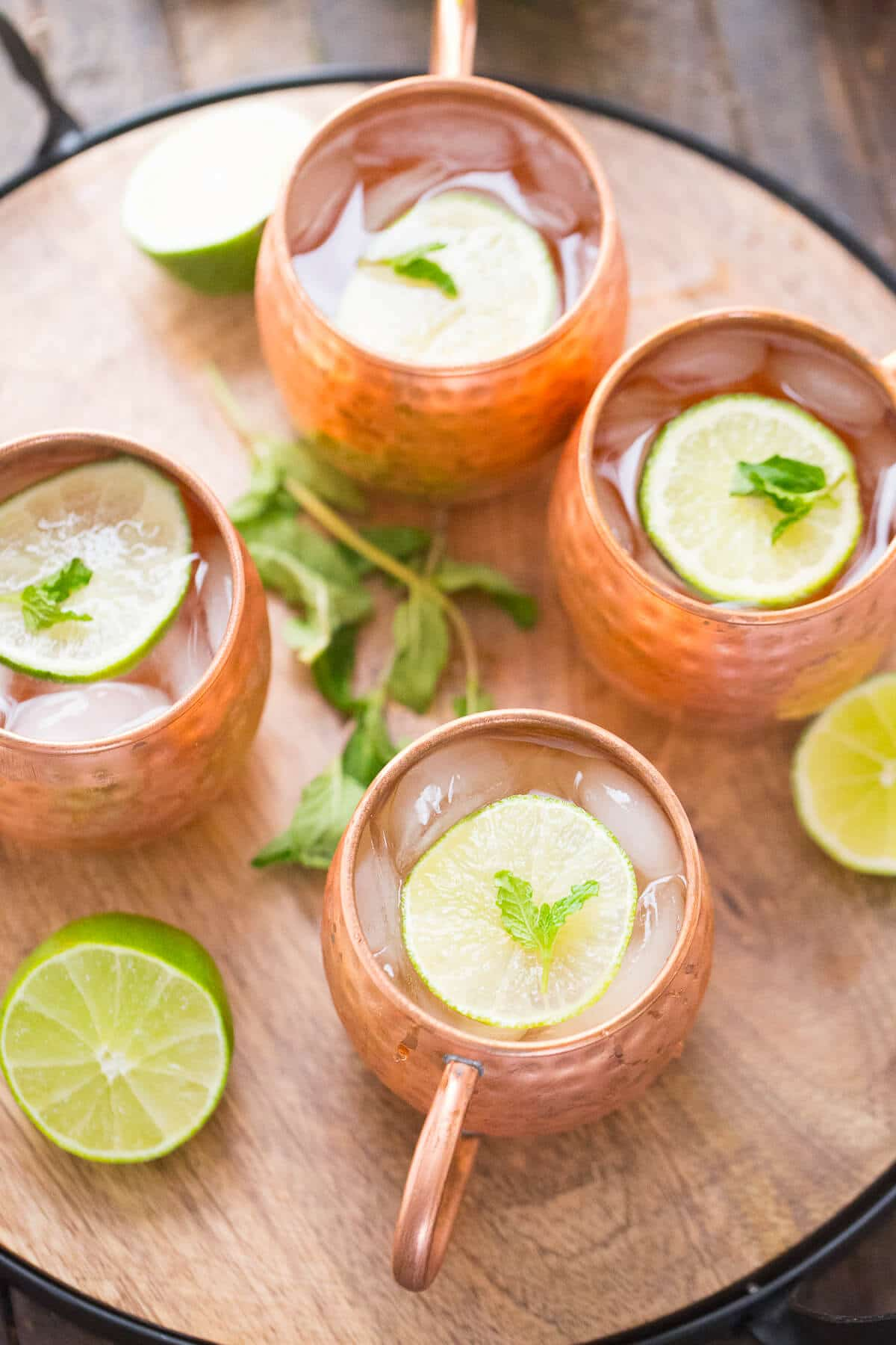 Moscow Mule with mint and champagne is a festive twist on a classic!