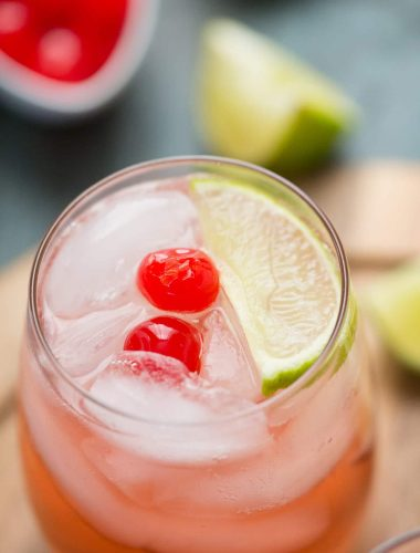 This cherry sour cocktail is sweet and bubbly, it's a fun cocktail for any occasion!