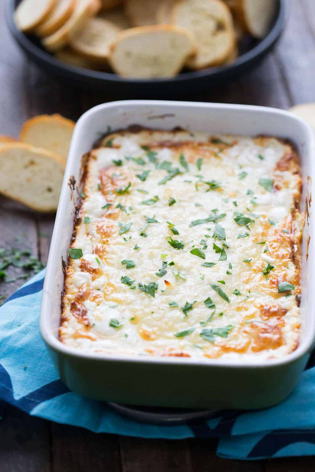 cheese dip in a green dish