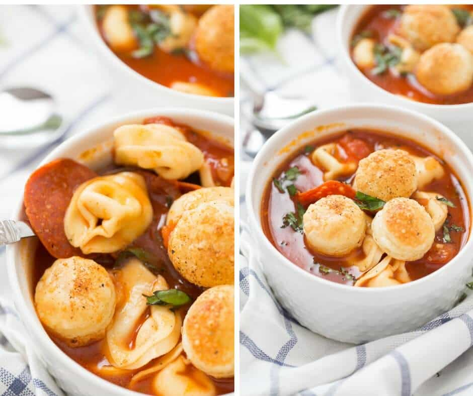 A hearty pizza soup that will please the whole family! Don't forget the puff pastry croutons!