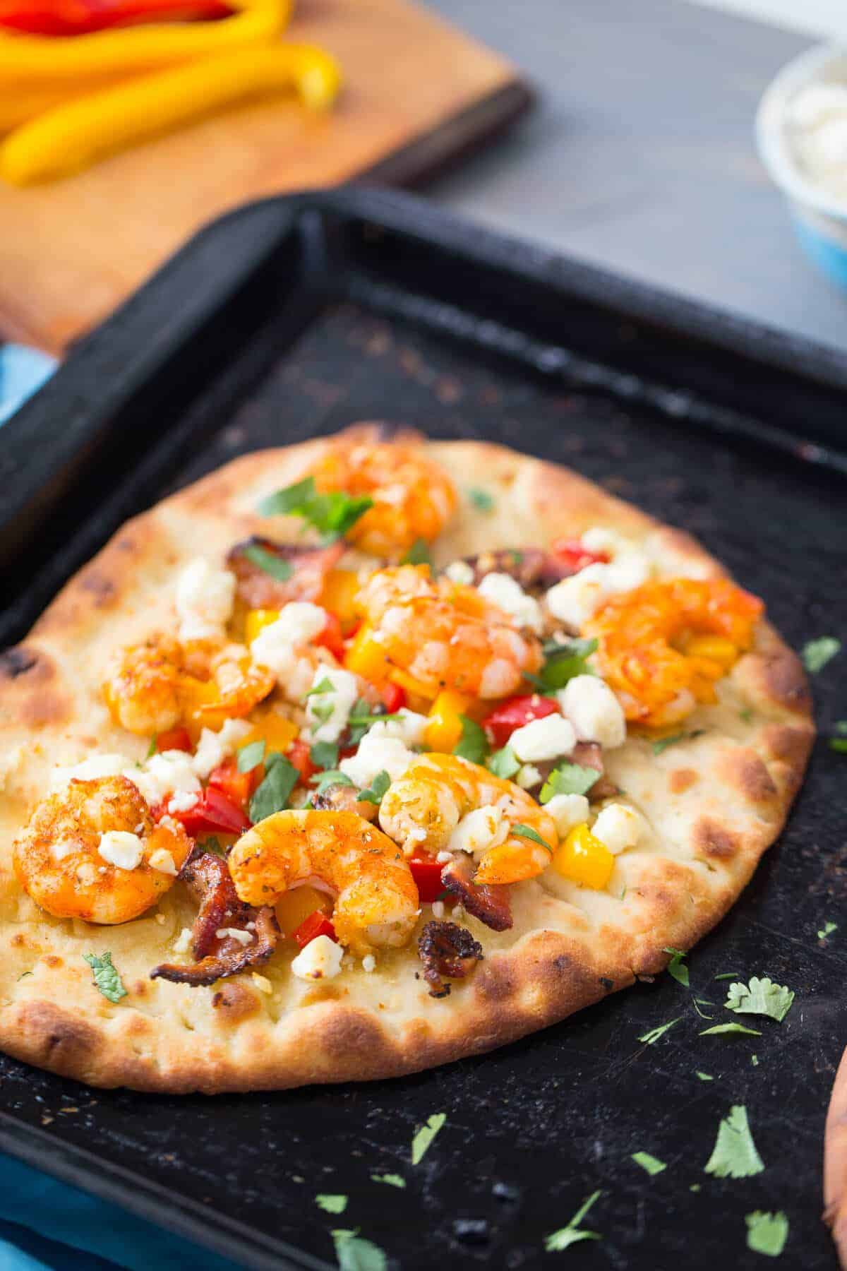 This Cajun Shrimp Pizza is so easy and the blend of flavors is amazing!