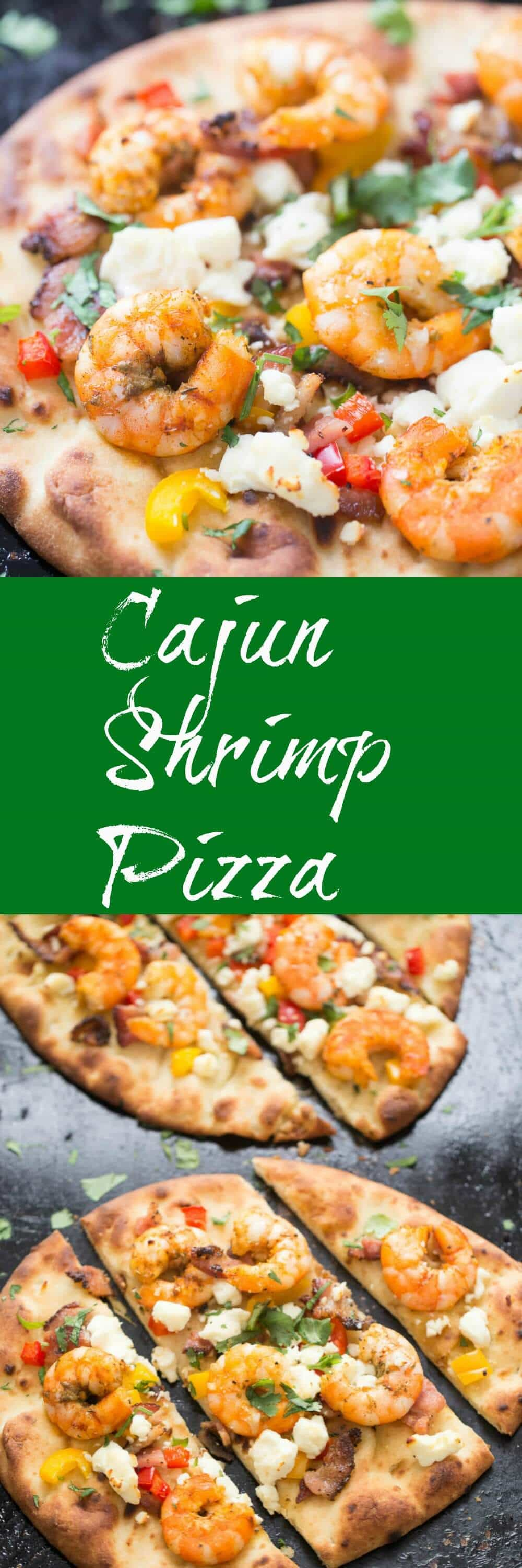 This naan bread Cajun shrimp pizza is so easy to prepare! It can be served as an appetizer or a meal; your friends and family are going to love it!