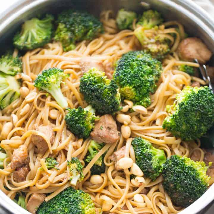 Chicken and broccoli are stir fried together in a simple marinade and then served with peanut butter noodles!