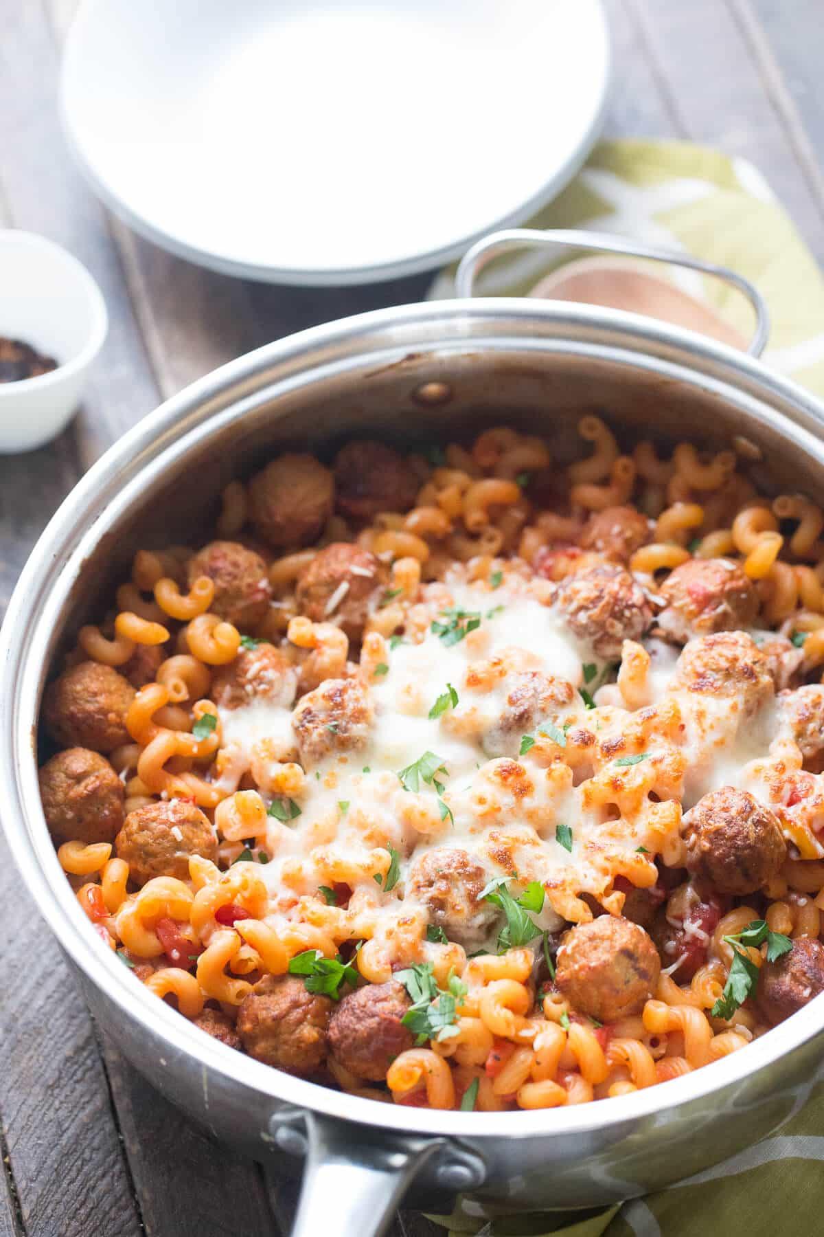 Skillet Meatball Lasagna {Lemons for Lulu}